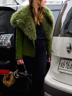 olive shearling. #JuliaKalmanovich in Moscow.