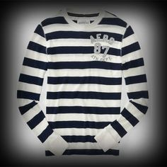 Aeropostale メンズ Tシャツ エアロポステール Long Sleeve Aero Patch 87 Striped Crew Tee Tシャツ-アバクロ 通販 ショップ-【I.T.SHOP】 #ITShop
