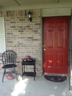 My front door - Sherwin Williams Fireweed Red Exterior Siding Colors, Best Exterior Paint, House Paint Exterior, Accent Walls In Living Room, Painted Front Doors, Front Door Colors, House With Porch, Door Entry, Entryway