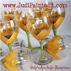 sunflower wedding wine glasses cute idea and to give as a lil gift to tge bridal.party