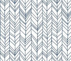 Featherland white/navy LARGE fabric by leanne on Spoonflower - custom fabric