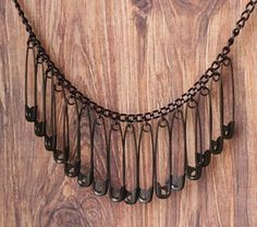 safety pin bib necklace in black statement by acommonthread Emo Jewelry, Safety Pin Jewelry, Grunge Jewelry, Gothic Jewelry, Cute Jewelry, Jewelry Crafts, Jewelery, Handmade Jewelry, Gold Jewelry