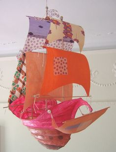 pollyanna by ann wood Diy And Crafts, Arts And Crafts, Paper Crafts, Simple Crafts, Diy Paper, Fabric Crafts, Ann Wood, Cardboard Paper, Hanging Mobile