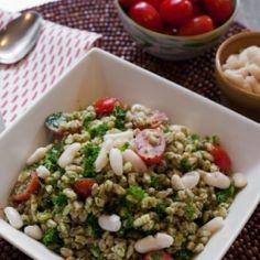 Farrow with Walnut Pesto and Kale HealthyAperture.com
