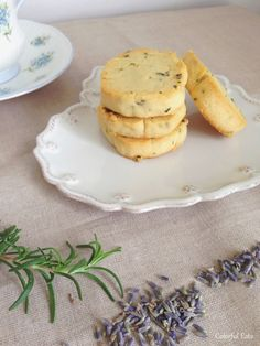 Lavender Rosemary Butter Cookies. Tastes of France and butter drifting through your kitchen! A perfect sweet treat or nutritious snack.