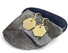 Gold Brass Hexagon Earrings Geometric Jewelry by vtylercollection