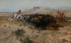 """Charles Marion Russell """"The Buffalo Hunt.""""  Click on image to ENLARGE."""