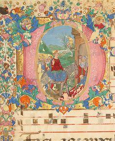 Manuscript Leaf from a Choir Book  Bartolomeo di Domenico di Guido     Date:      15th–16th century  Geography:      Made in, Florence?, Italy  Culture:      Italian  Medium:      Parchment, tempera, ink, gold leaf  Dimensions:      Overall: 28 1/4 x 19 15/16 in. (71.7 x 50.7 cm) Illumination: 8 7/16 x 8 7/16 in. (21.5 x 21.5 cm) Mat size: 37 x 28 1/8 in. (94 x 71.5 cm) Mat Window: 27 3/8 x 18 15/16 in. (69.6 x 48.1 cm)  Classification:      Manuscripts & Illuminations