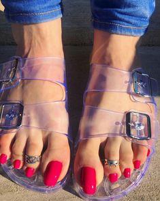 Pretty Toe Nails, Cute Toe Nails, Cute Toes, Pretty Toes, Hot Pink Toes, Duck Feet Nails, Long Toenails, Red Toenails, Jamel Shabazz