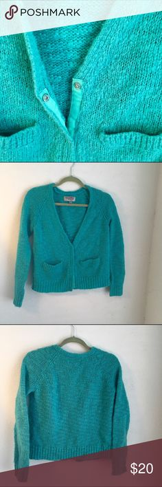 Turquoise Cardigan cozy knitted sweater w/ neat buttons ~ perfect for layering over t-shirts &/or blouses ^ #falllooks🍃 Ecote Sweaters Cardigans