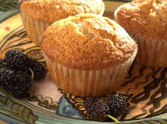 Mulberry muffins - a delicious and easy recipe Cantaloupe Recipes, Radish Recipes, Fruit Recipes, Baking Recipes, Cheddarwurst Recipe, Frangipane Recipes, Mulberry Recipes, Thermomix