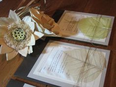 Rustic leaf invitations