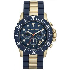 Michael Kors Oversize Two-Tone Black Rose Golden Stainless Steel Everest  Chronograph Watch Store Style Number  506711cded