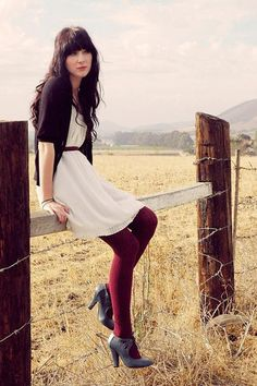 Heather-gray-boots-ivory-dress-crimson-textured-tights-brick-red-belt
