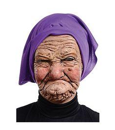 Old Nana Latex Mask Adult Grandma Wrinkled Hag Face Halloween #SeasonalVisions #Half #Halloween