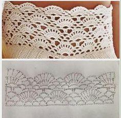 2-2 puede ser... Crochet Shawl Diagram, Crochet Lace Edging, Crochet Borders, Crochet Stitches Patterns, Crochet Chart, Filet Crochet, Crochet Doilies, Crochet Classes, Crochet Projects