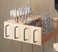 Drill Bit Storage; make pistol grip handles for french cleat boxes