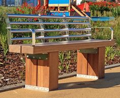 1565 outdoor benches and seats for city centres, streets, parks, transport termini, recreational areas and communal gardens. Riverside Walk, Street Furniture, Outdoor Furniture, Outdoor Decor, Garden Bridge, Bench, Outdoor Structures, Home Decor, Decoration Home