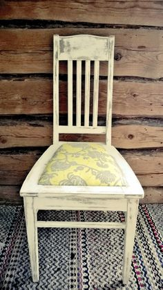 1940's chair. Amy Butler fabric design. Organic pattern. Yellow and silver grey tones.