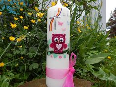 18 Taufkerze Kommunionkerze Junge Mädchen Rosa NEU von Lenz  Kerzen auf DaWanda.com