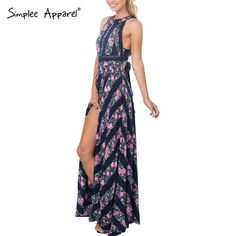 0cde3b9a809 Sexy sleeveless floral print long backless High waist maxi dress Party  Dresses For Women