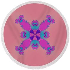 Pink purple blue decorative ornamental tile Round Beach Towel by Lenka Rottova. The beach towel is in diameter and made from polyester fabric. Beach Towel Bag, Beach Mat, Summer Essentials, Pink Purple, Towels, Outdoor Blanket, Plush, Technology, Ornaments