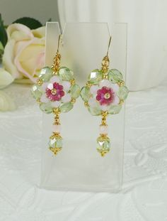 Woven Flower Dangle Earrings Pink Opal and Green by IndulgedGirl