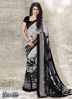 Elegant Black and Grey Coloured Georgette Saree