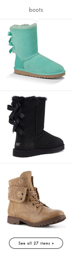 """""""boots"""" by allimariekoch ❤ liked on Polyvore featuring shoes, boots, ankle booties, uggs, ankle boots, green, patent leather boots, bow boots, patent boots and patent ankle boots"""