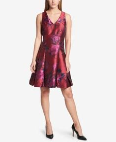 Tommy Hilfiger Floral Jacquard Fit & Flare Dress - Red 16