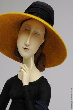 """Купить Авторская кукла """" Жанна Эбютерн""""( персональный заказ) - чёрный, желтый, портрет, кукла"""