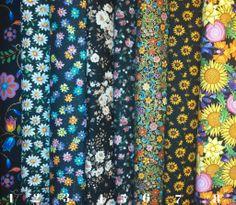 Flowers on Black Fabric
