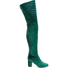 Jean-Michel Cazabat Giada thigh high boots ($1,035) ❤ liked on Polyvore featuring shoes, boots, green, above-knee boots, jean michel cazabat boots, over-knee boots, thigh boots and green over the knee boots