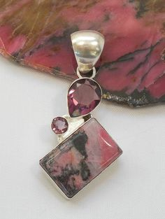 Rhodonite and Sterling Pendant 2 with Amethyst