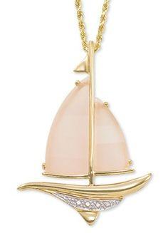 Rose Quartz and Diamond Sailboat Pendant