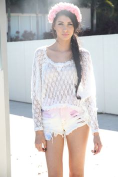 Crochet Knit & Ombre Shorts