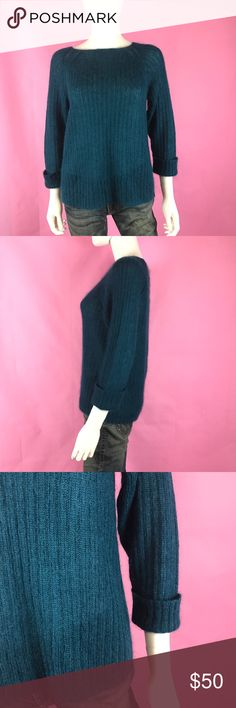 DKNY Pullover Sweater Mohair Wool Teal Cuff Thin DKNY Women's Pullover Sweater Sz M Mohair Wool Blend Teal Solid Cuff Sleeve Thin   Features: Brand: DKNY Color: Teal Size: M Sleeve Style: 3/4 With Cuff Material: see label Measurements: Bust (in):20 Waist (in): 20 Across the Back (in): Sleeves (in):14 Total Length (in):25 Sorry No Trades: Dkny Sweaters Crew & Scoop Necks