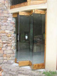 Rustic Cypress Stack Away 3 Pannel (Medium). Glass Garage Door, Glass Door, Wooden Tea Light Holder, Door Design, House Design, Side Yard Landscaping, Office Room Dividers, Internal Sliding Doors, Garage Renovation