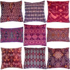 Ikat Pillow, Purple,  Set of 9, 16x16, 12x18, via Etsy.