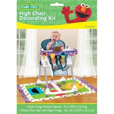 Bring the friendly magic of Sesame Street to your house with the Sesame Street High Chair Decorating Kit. The kit is perfect for a first birthday, featuring a pennant-style fringed paper banner for th