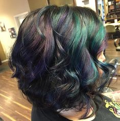 Beautiful oil slick hair color look using pravana vivids.
