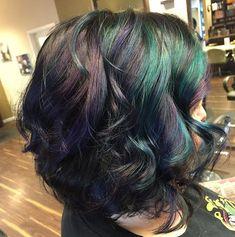 Beautiful oil slick hair color look using pravana vivids.