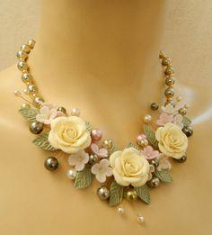 Bib necklace  Flower jewelry set  Pearl jewelry  by insoujewelry, $77.00