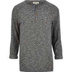 Dark grey slub grandad t-shirt £18 #riverisland #RImenswear #bloggerstyle