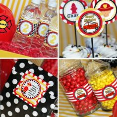 Firefighter party theme: labels - Linda Kaye's Partymakers