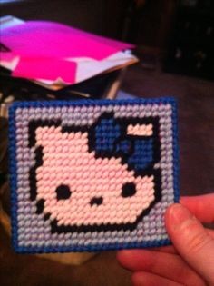 Hello Kitty Coasters made of plastic canvas!!!