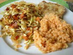 Zeleninová směs s čočkou s rybím filé Risotto, Grains, Rice, Ethnic Recipes, Food, Essen, Yemek, Jim Rice, Meals