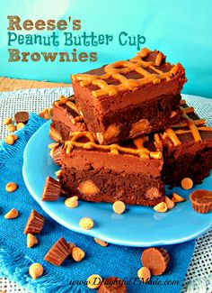 Reese's Peanut Butter Cup Brownies by Delightful E Made.