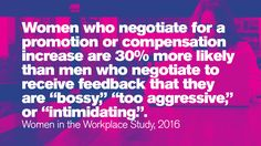 """Women who negotiate for a promotion or compensation increase are more likely than men who negotiate to receive feedback that they are """"bossy,"""" """"too aggressive,"""" or """"intimidating. A Days March, Stem Science, Women In History, Read More, Workplace, Things To Think About, Promotion, Technology, Math"""