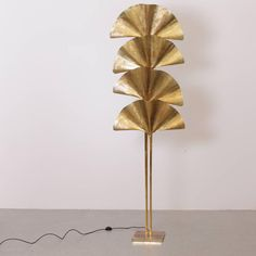 One of Two Extraordinary Huge Four Ginkgo Leaf Brass Floor Lamp by Tommaso Barbi | From a unique collection of antique and modern floor lamps at https://www.1stdibs.com/furniture/lighting/floor-lamps/